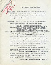 Texte du Statut des Juifs annoté par la main de Pétain