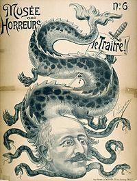 Caricature de 1890 du Musée des horreurs représentant Alfred Dreyfuss comme la tête du serpent