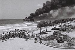 L'Altalena en feu le 22 juin 1948