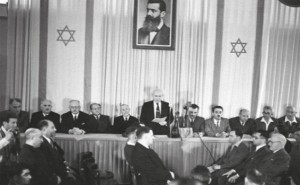 David Ben Gourion déclare l'Indépendance d'Israel le 14 mai 1948