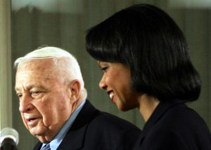 Ariel Sharon et Condoleezza Rice